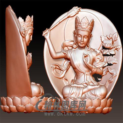 坐式菩萨拿剑立体圆雕图(YQT-064)
