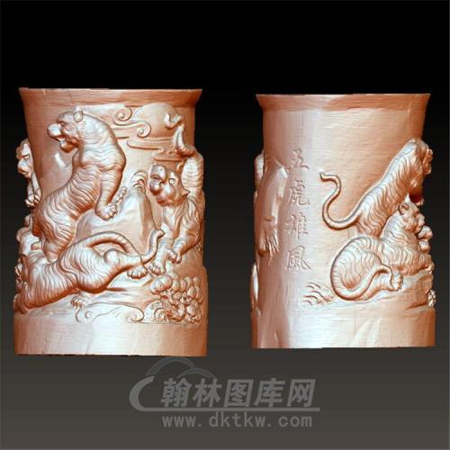 五虎雄风笔筒立体圆雕图(YBT-003)