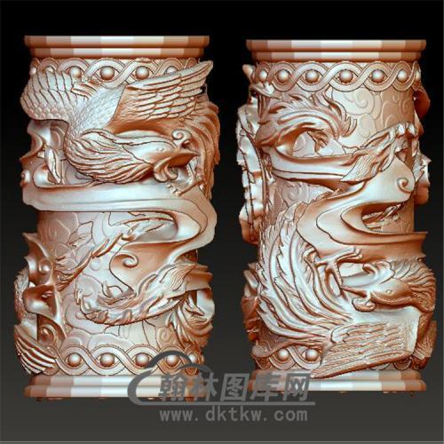 凤笔筒柱头立体圆雕图(YBT-007)