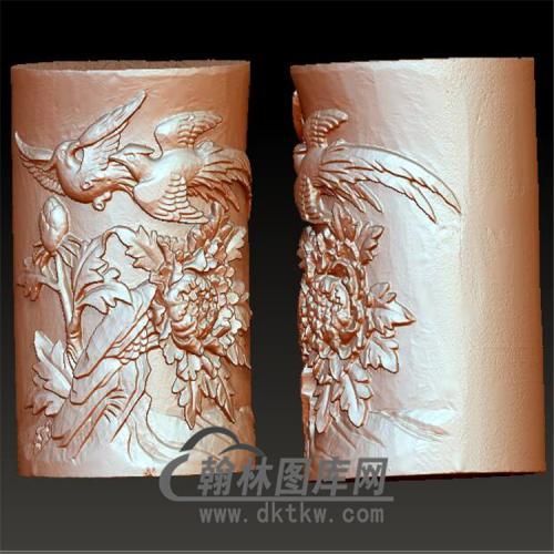 牡丹花鸟笔筒立体圆雕图(YBT-009)