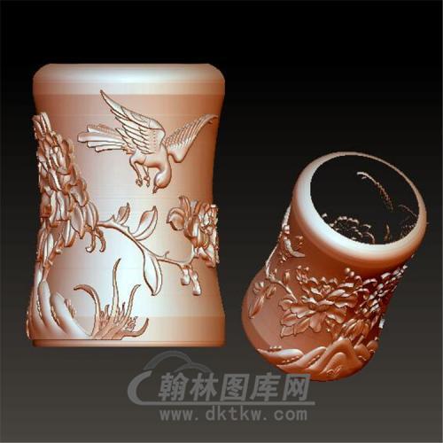 花鸟笔筒立体圆雕图(YBT-011)