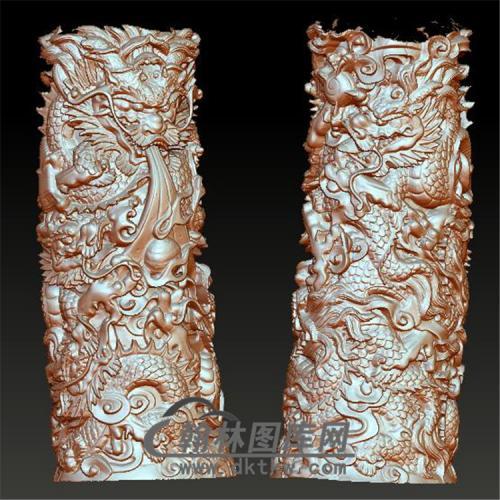 五龙笔筒立体圆雕图(YBT-012)