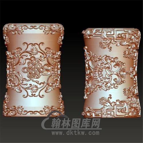洋花笔筒立体圆雕图(YBT-013)