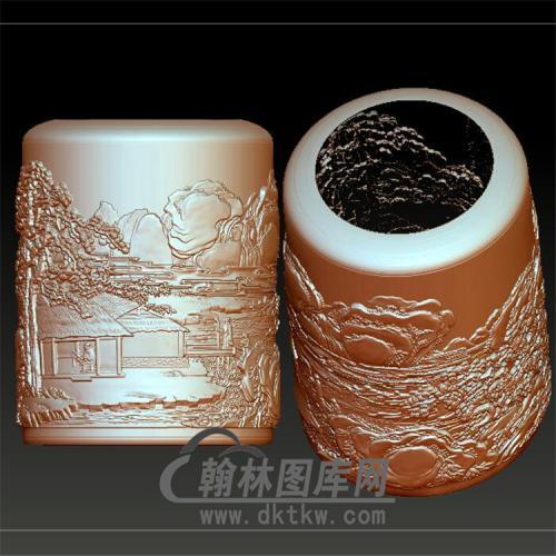 山水笔筒立体圆雕图(YBT-015)