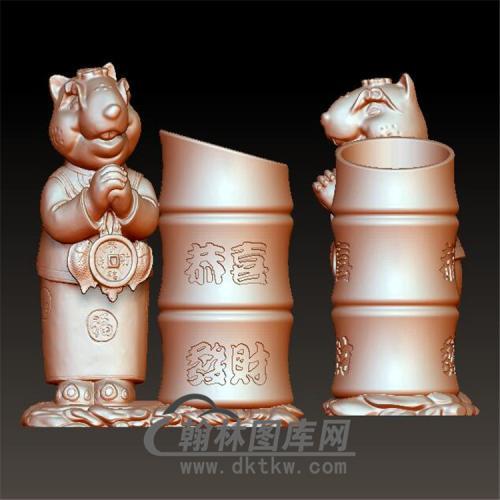 恭喜发财老鼠笔筒立体圆雕图(YBT-020)
