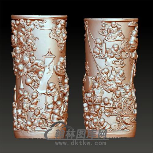 百子笔筒立体圆雕图(YBT-021)