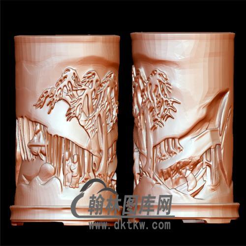 山水人物笔筒立体圆雕图(YBT-022)