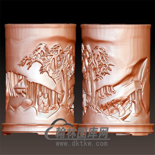 山水人物圆柱图笔筒图立体圆雕图(YBT-037)
