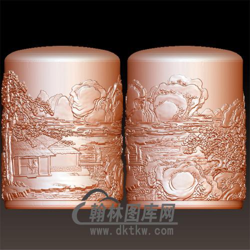 山水石笔筒圆柱图笔筒图立体圆雕图(YBT-038)