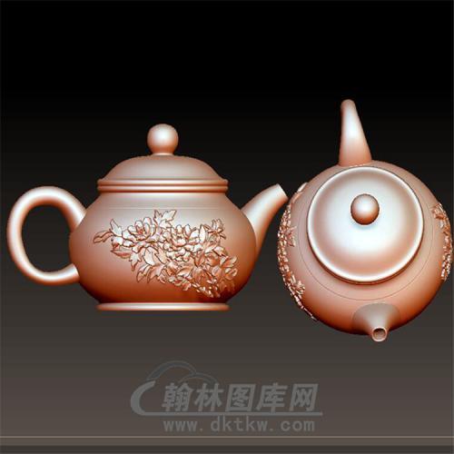 茶壶·紫砂壶立体圆雕图(YH-001)