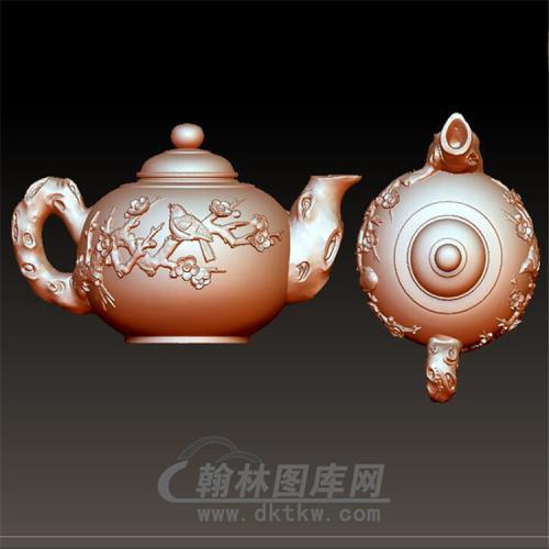 茶壶花鸟紫砂壶立体圆雕图(YH-002)