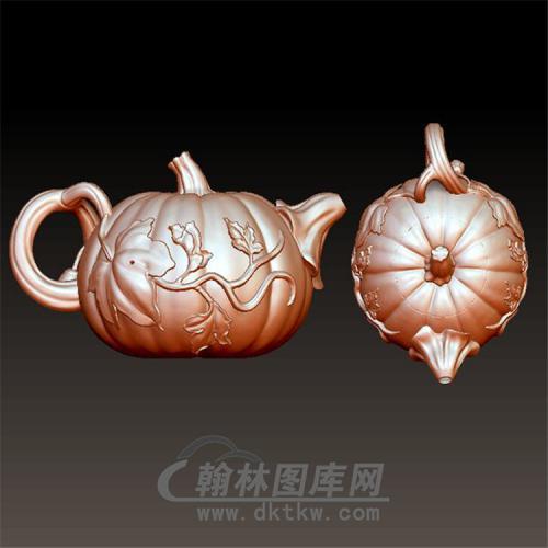 南瓜茶壶紫砂壶立体圆雕图(YH-003)
