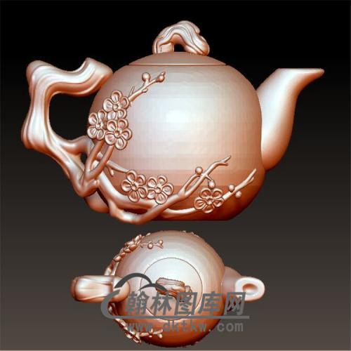 梅花茶壶立体圆雕图(YH-004)
