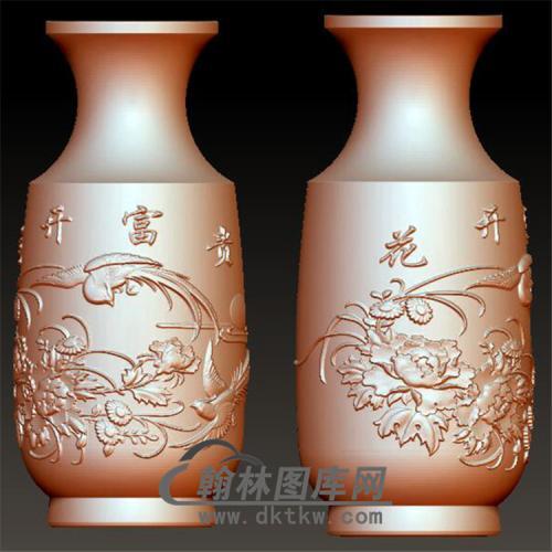花开富贵花瓶立体圆雕图(YHL-001)