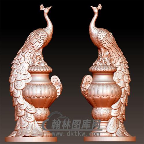 孔雀花瓶立体圆雕图(YHL-002)