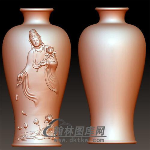 观音花瓶立体圆雕图(YHL-010)