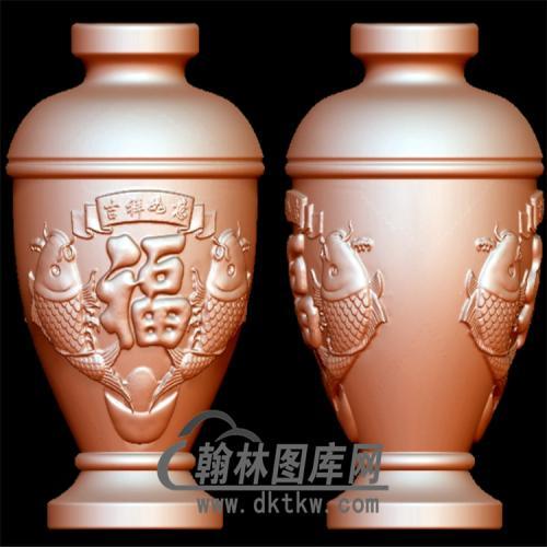 双鱼花瓶立体圆雕图(YHL-011)