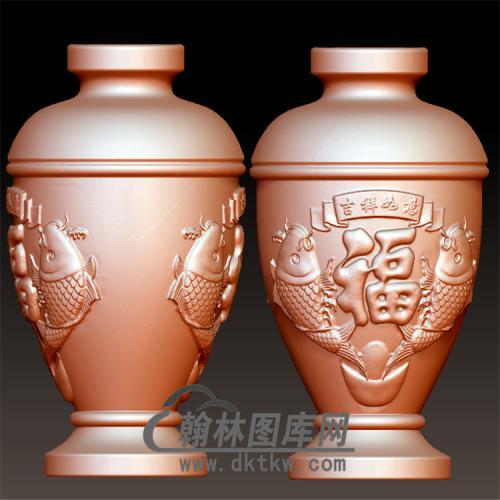 福鱼花瓶立体圆雕图(YHL-012)