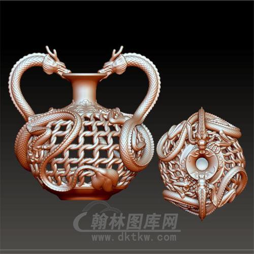 双龙镂空花瓶立体圆雕图(YHL-013)