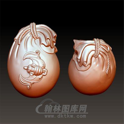 蝙蝠钱袋布袋立体圆雕图(YQD-004)