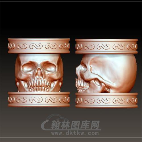 骷髅桶珠立体圆雕图(YST-036)
