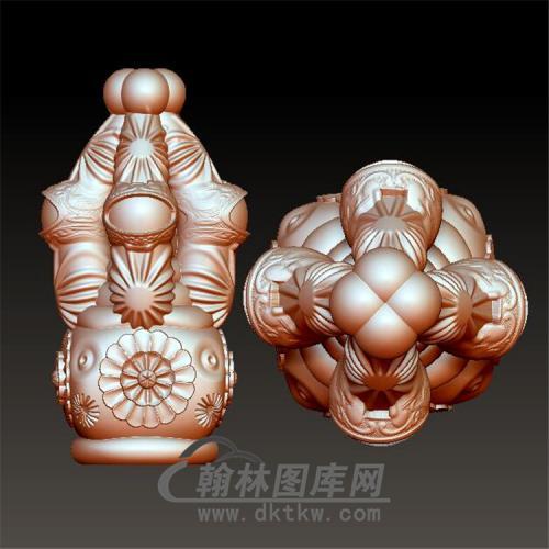 三通佛塔立体圆雕图(YST-045)