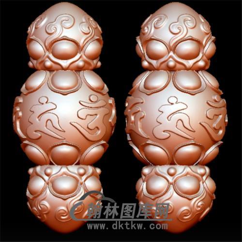 六子莲花如意纹勒子立体圆雕图(YST-052)