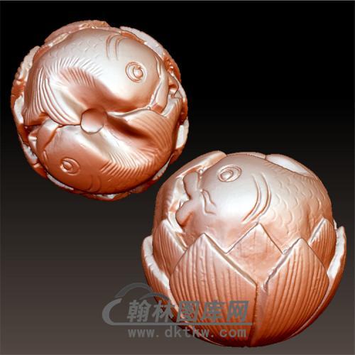 双鱼莲花立体圆雕图(YSQ-013)