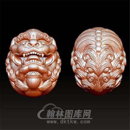 狮子球木雕手串立体圆雕图(YSQ-023)