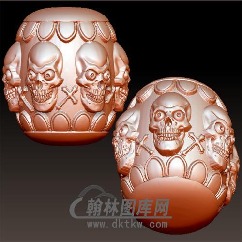 骷髅莲花桶珠立体圆雕图(YSQ-028)