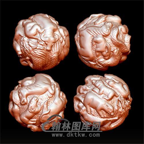 十二生肖珠子立体圆雕图(YSQ-030)