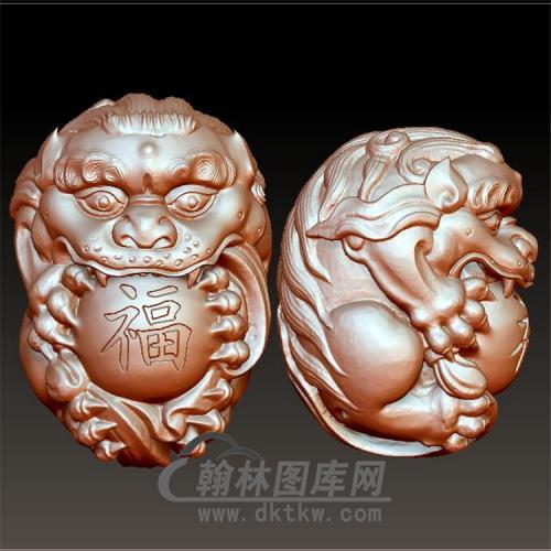 祥狮抱福把件立体圆雕图(YSQ-039)