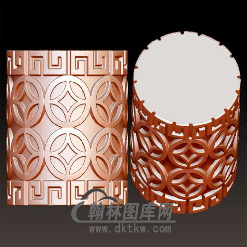 金钱纹桶珠立体圆雕图(YSQ-051)