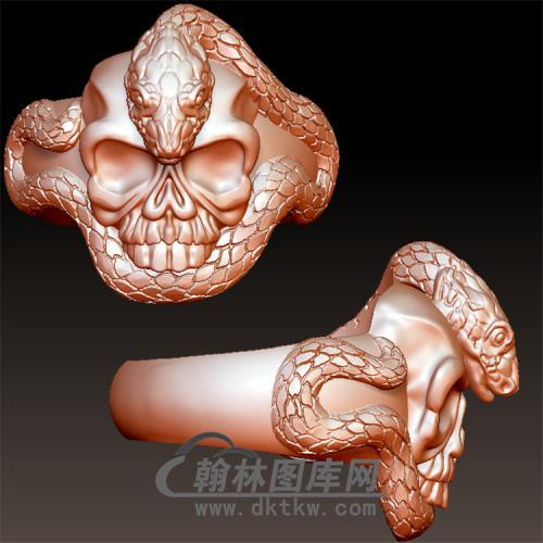 蛇骷髅头戒指立体图(YSJ-082)