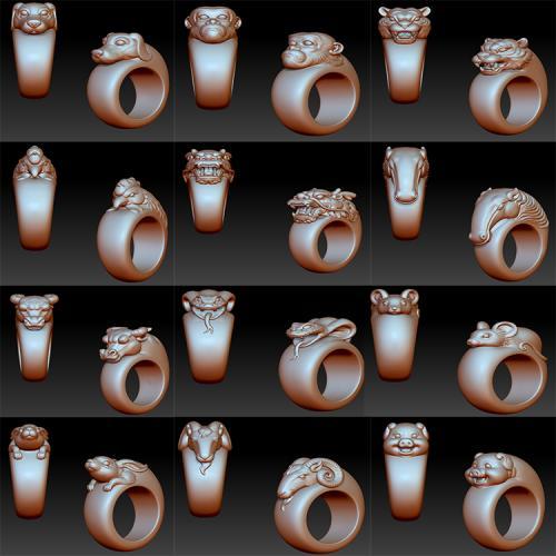十二生肖戒指立体圆雕图(YSJ-130)