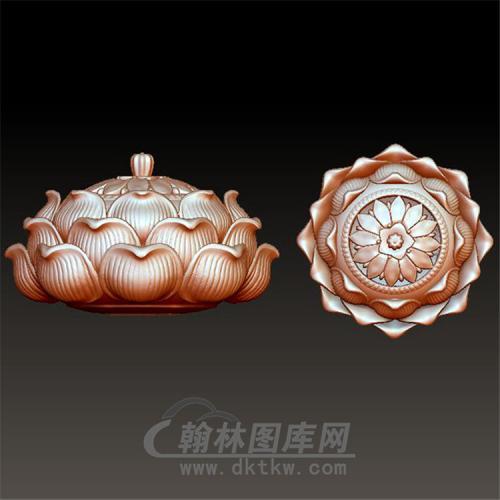 莲花底座香炉立体圆雕图(YSJ-002)