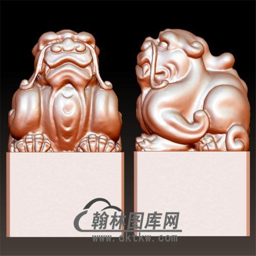 狮子印章立体圆雕图(YYD-005)