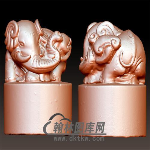 大象圆印章立体圆雕图(YYD-036)