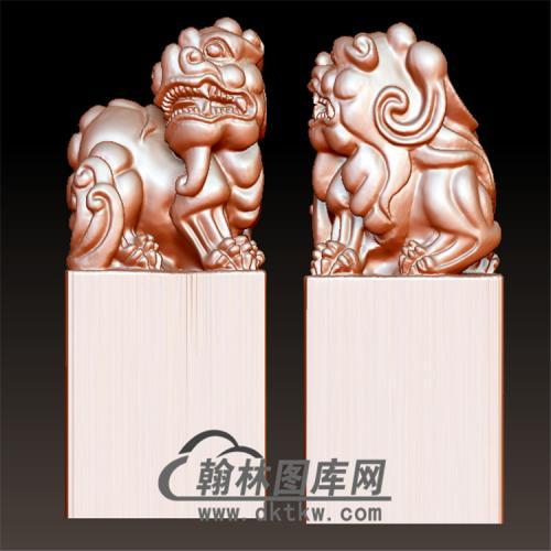 狮子印章立体圆雕图(YYD-048)